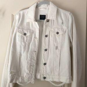 Abercrombie distressed white denim jacket